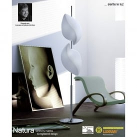 Natura 4 Light Indoor Floor Lamp in Polished Chrome Finish and White Glass Shadese