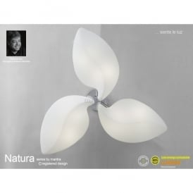 Natura 6 Light Indoor Semi Ceiling Fitting in Polished Chrome Finish and White Glass Shade