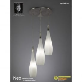 Neo 3 Light Ceiling Pendant in Satin Nickel Finish with Frosted Glass Shades