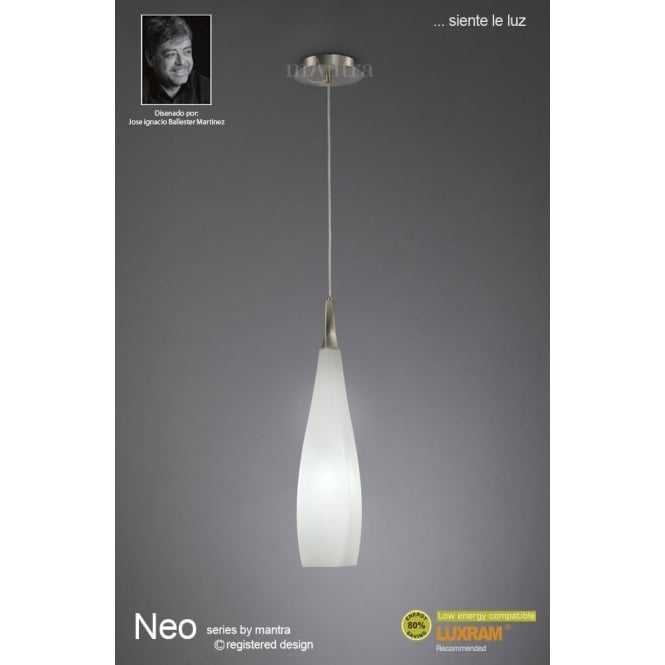 Mantra Neo Single Light Ceiling Pendant In Satin Nickel