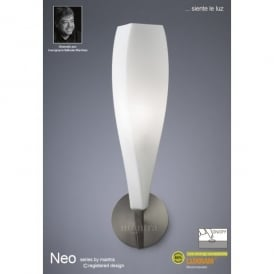 Neo Single Light Switched Wall Lamp in Satin Nickel Finish with Frosted Glass Shade
