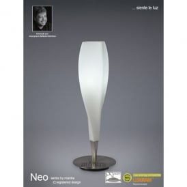 Neo Single Light Table Lamp in Satin Nickel Finish with Frosted Glass Shade