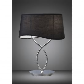 Ninette 2 Light Low Energy Table Lamp in Polished Chrome Finish with Black Shade