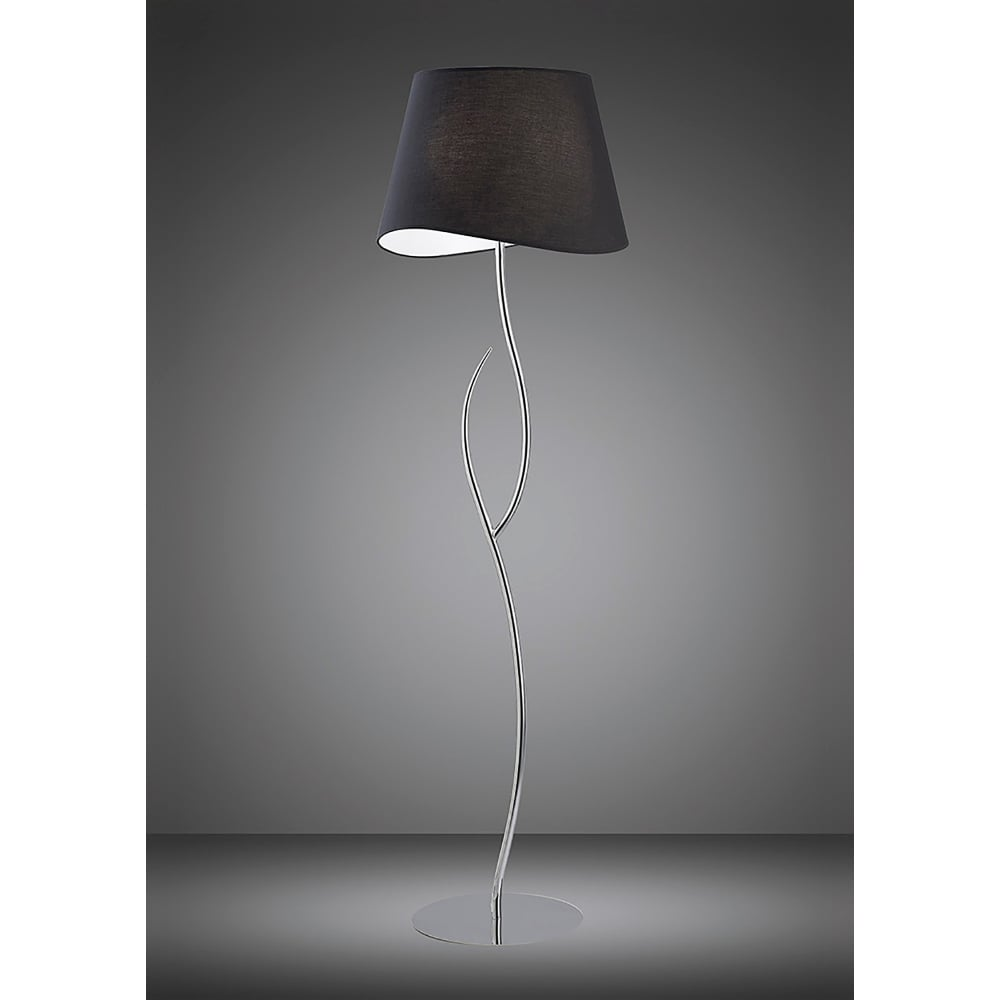 Low Energy Floor Lamps: Mantra Ninette 4 Light Low Energy Floor Lamp in Polished Chrome Finish with  Black Shade - Lighting Type from Castlegate Lights UK,Lighting