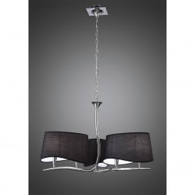 Ninette 6 Light Low Energy Ceiling Pendant in Polished Chrome Finish with Black Shades