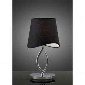 Ninette Single Light Low Energy Table Lamp in Polished Chrome Finish with Black Shade