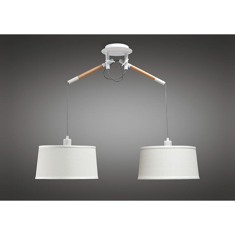 Mantra nordica 2 light ceiling pendant in white and wood finish nordica 2 light ceiling pendant in white and wood finish aloadofball Image collections