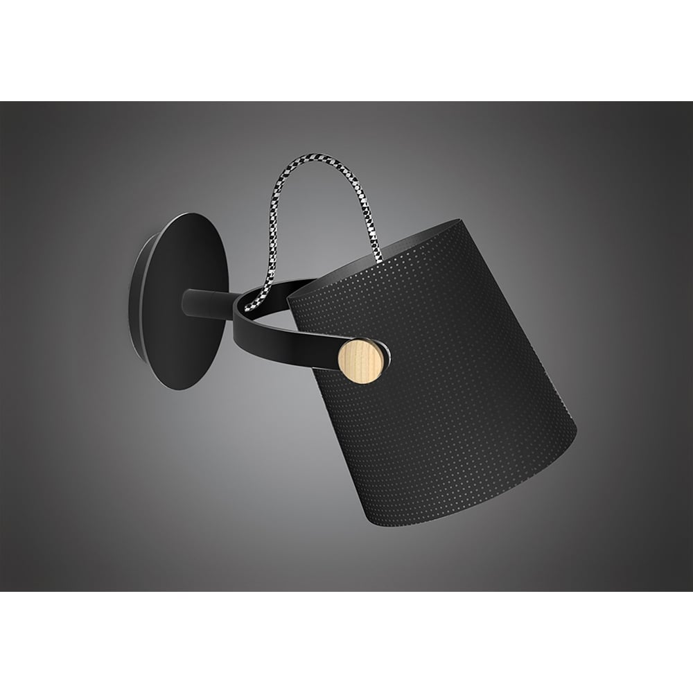 Mantra nordica single light wall lamp in black and wood finish nordica single light wall lamp in black and wood finish mozeypictures Gallery