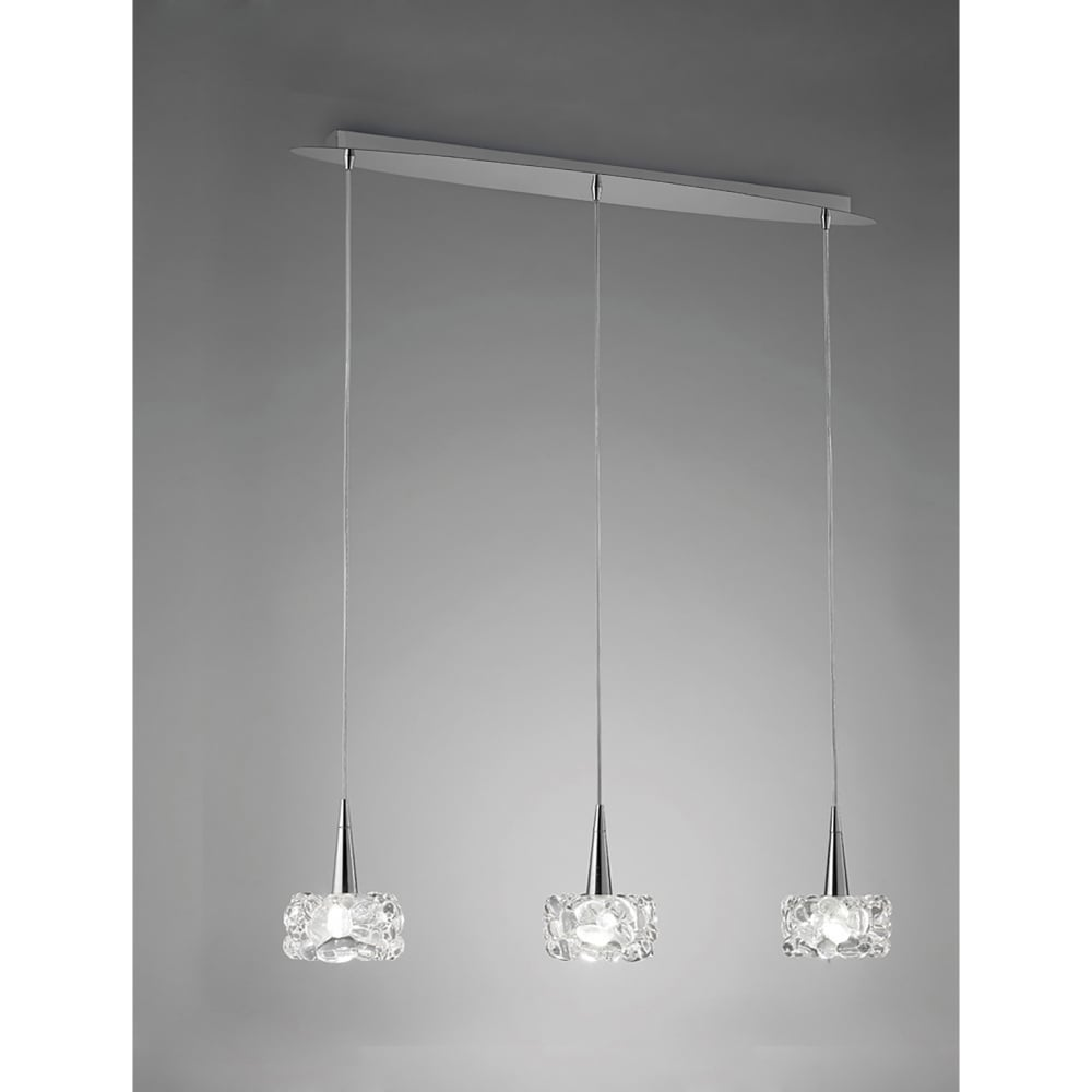 Soho Bar Pendant With 3 Opal White Glass Lights Supended: Mantra O2 3 Light Ceiling Line Pendant In Polished Chrome