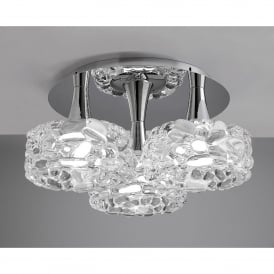 O2 3 Light Large Round Low Energy Ceiling Fitting in Polished Chrome Finish with Glass Shades