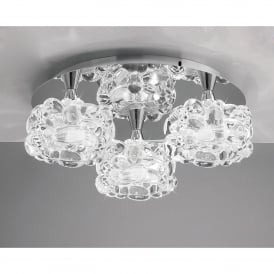 O2 3 Light Round Flush Ceiling Fitting in Polished Chrome Finish with Glass Shades