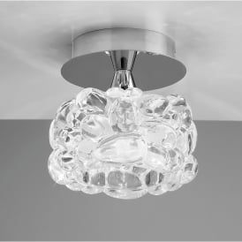 O2 Single Light Flush Ceiling Fitting in Polished Chrome Finish with Glass Shade