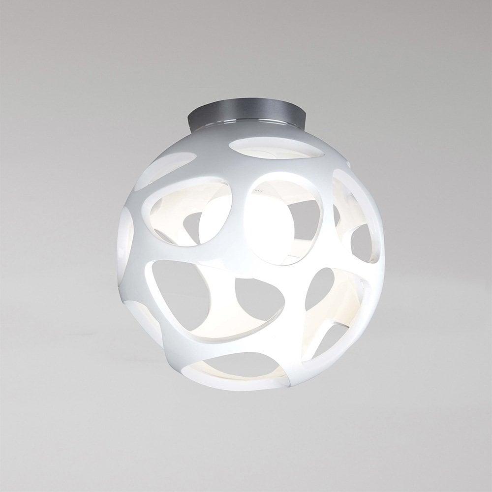 Organica single light semi flush globe ceiling fitting in white polymer and chrome finish