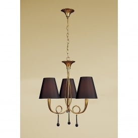 Paola 3 Light Ceiling Pendant in Gold Leaf Finish with Black Shades