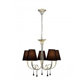 Paola 5 Light Multi Arm Ceiling Fitting With Silver Painted Finish Complete with Black Shades