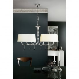 Paola 6 Light Ceiling Fitting in Silver Leaf Finish with Cream Shades