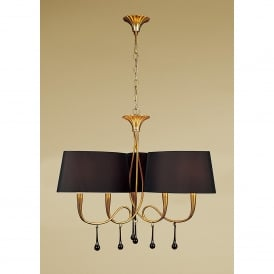 Paola 6 Light Ceiling Pendant With Gold Leaf Finish and Black Shades