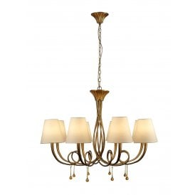 Paola 8 Light Multi Arm Ceiling Fitting With Gold Painted Finish Complete with Cream Shades