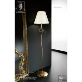 Paola Single Light Floor Lamp in Gold Leaf Finish With Cream Fabric Shade