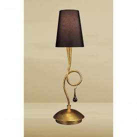 Paola Single Light Table Lamp With Gold Leaf Finish and Black Shade