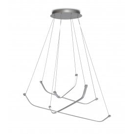 Papua 4 Light Dimmable LED Large Aluminium Ceiling Pendant in Chrome and Silver Finish