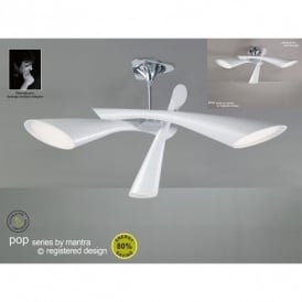 Pop 3 Light Low Energy White Retro Style Ceiling Fitting