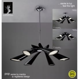 Pop 6 Light Low Energy Black Retro Style Ceiling Fitting