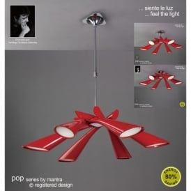 Pop 6 Light Low Energy Red Retro Style Ceiling Fitting