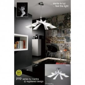 Pop 6 Light Low Energy White Retro Style Ceiling Fitting