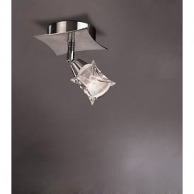 Rosa Del Desierto Single Light Switched Wall/Ceiling Fitting in Satin Nickel Finish