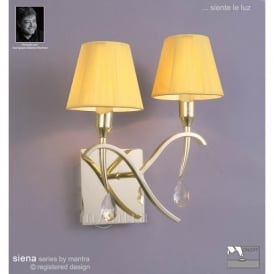 Siena 2 Light Switched Wall Lamp in Polished Brass Finish With Amber Shades