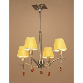 Siena 4 Light Adjustable Ceiling Pendant in Antiqur Brass Finish With Amber Cream Shades