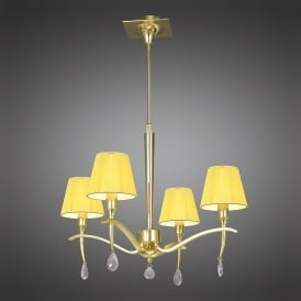Siena 4 Light Adjustable Ceiling Pendant in Polished Brass Finish With Amber Cream Shades