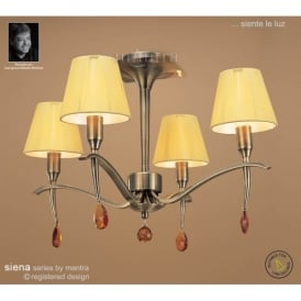 Siena 4 Light Ceiling Fitting In Antique Brass Finish