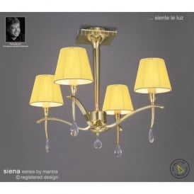Siena 4 Light Semi Ceiling Fitting in Polished Brass Finish With Amber Shades