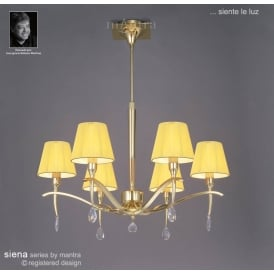 Siena 6 Light Adjustable Ceiling Pendant in Polished Brass Finish With Amber Cream Shades
