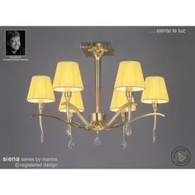 Siena 6 Light Ceiling Fitting In Polished Brass Finish