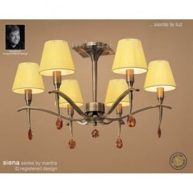 Siena 6 Light Ceiling Pendant In Antique Brass Finish