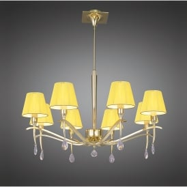 Siena 8 Light Adjustable Ceiling Pendant in Polished Brass Finish With Amber Shades