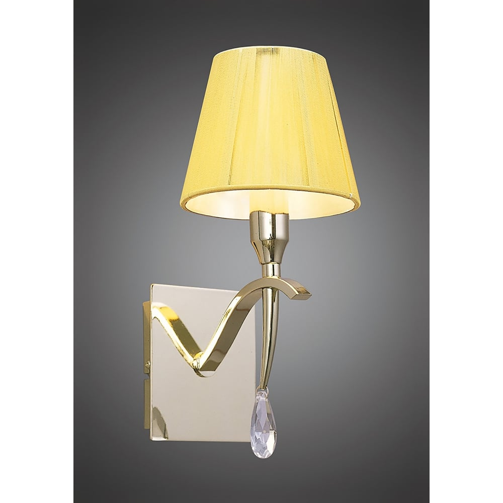 Mantra Siena Single Light Switched Wall Fitting in Polished Brass Finish With Amber Cream Shade ...