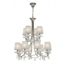Sophie 12 Light Ceiling Chandelier in Painted Silver Finish Complete with White Shades
