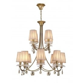 Sophie 12 Light Multi Arm Chandelier With Gold Painted Finish Complete with Cream Shades