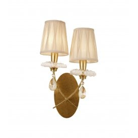 Sophie 2 Light Wall Fitting in Painted Gold Finish Complete with Cream Shades