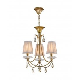 Sophie 3 Light Multi Arm Chandelier in Painted Gold Finish Complete with Cream Shades
