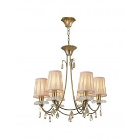 Sophie 6 Light Multi Arm Chandelier in Painted Gold Finish Complete with Cream Shades