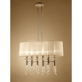 Tiffany 12 Light Adjustable Ceiling Pendant in French Gold Finish With Cream Shade