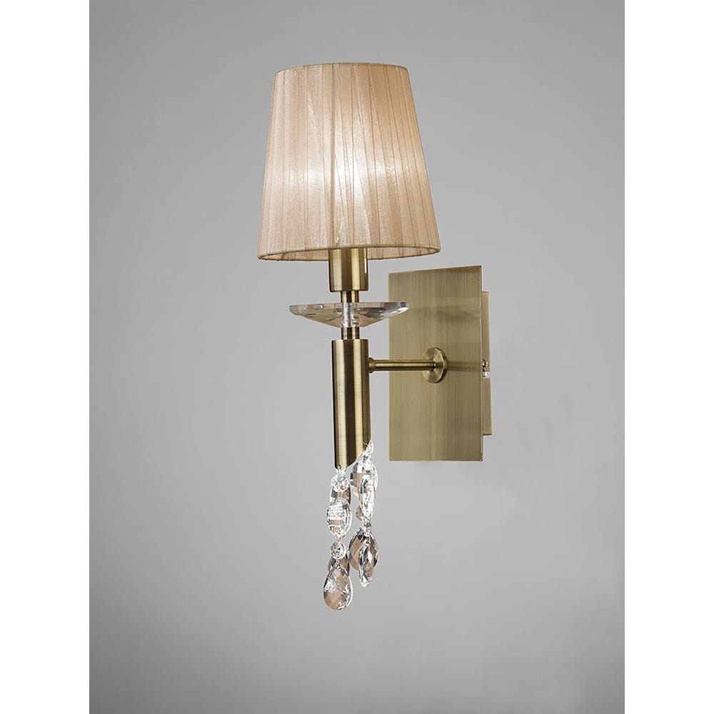 Mantra Tiffany 2 Light Switched Wall Lamp in Antique Brass Finish With Soft Bronze Shade ...