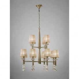 Tiffany 24 Light Adjustable Ceiling Pendant in Antique Brass Finish With Soft Bronze Shades