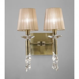 Tiffany 4 Light Switched Wall Lamp in Antique Brass Finish With Soft Bronze Shades