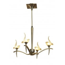 Viena 4 Light Telescopic Ceiling Pendant in Antique Brass Finish Complete with Frosted Glass Shades